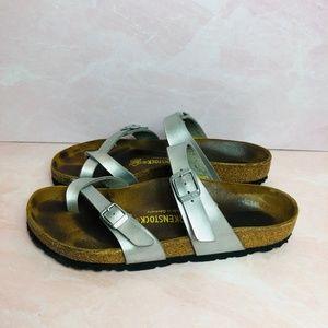 Birkenstock Mayari Silver Sandals 39  (8.5/9)